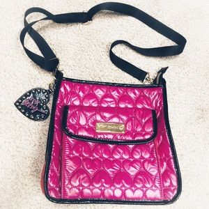 NEW Betsey Johnson Quilted Hearts Purse